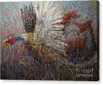 Pheasant And Fox Canvas Print by Michael Glass