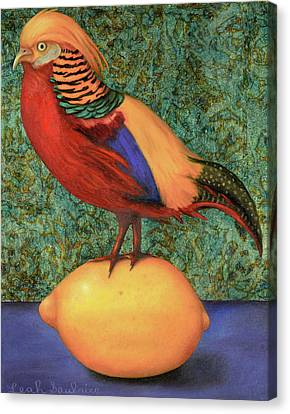 Canvas Print featuring the painting Pheasant On A Lemon by Leah Saulnier The Painting Maniac