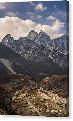 Canvas Print featuring the photograph Pheriche In The Valley by Mike Reid
