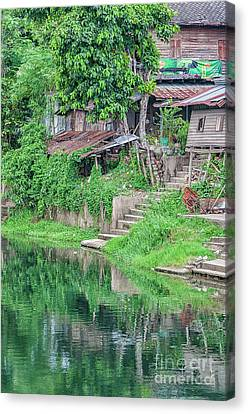 Bamboo House Canvas Print - Phetchaburi River Shacks by Antony McAulay