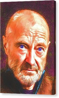 Canvas Print featuring the digital art Phil Collins by John Haldane