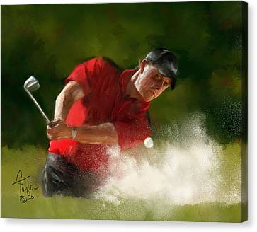 Masters Winners Canvas Print - Phil Mickelson - Lefty In Action by Colleen Taylor
