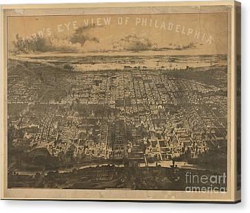 Philly Canvas Print - Philadelphia 1868 by Baltzgar