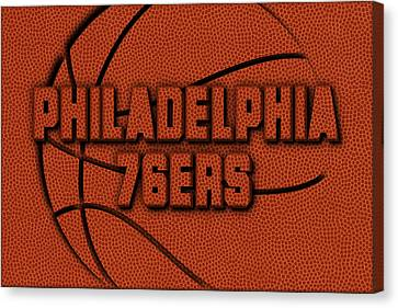 Philadelphia 76ers Leather Art Canvas Print by Joe Hamilton