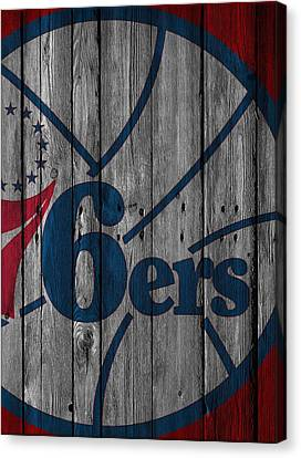 Philadelphia 76ers Wood Fence Canvas Print by Joe Hamilton