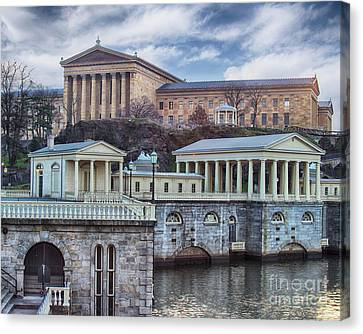 City Scape Canvas Print - Philadelphia Art Museum At The Water Works  by Tom Gari Gallery-Three-Photography