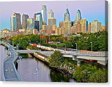 Rocky Statue Canvas Print - Philadelphia At Dusk by Frozen in Time Fine Art Photography