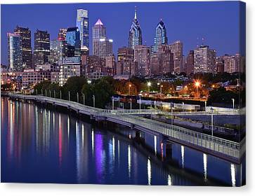 Philadelphia Blue Hour Canvas Print by Frozen in Time Fine Art Photography