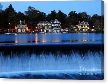 Blue Hour Canvas Print - Philadelphia Boathouse Row At Twilight by Gary Whitton