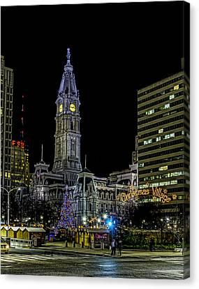 Philadelphia City Hall And Christmas Village Canvas Print