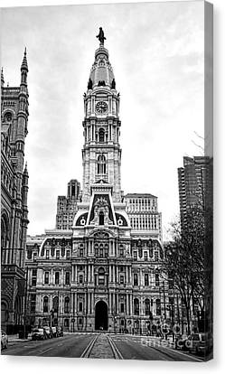 Philadelphia City Hall Building On Broad Street Canvas Print by Olivier Le Queinec