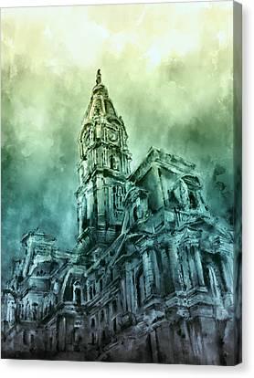 Philadelphia City Hall Green Canvas Print