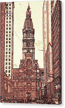 Philadelphia City Hall - Pencil Canvas Print by Art America Gallery Peter Potter