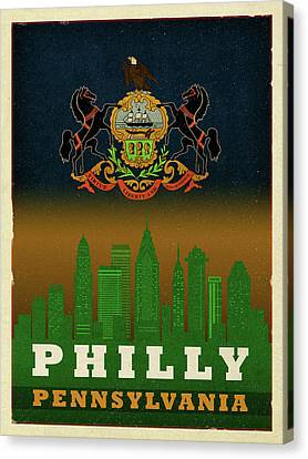 Phillies Art Canvas Print - Philadelphia City Skyline State Flag Of Pennsylvania Art Poster Series 014 by Design Turnpike