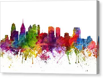 Philadelphia Cityscape 06 Canvas Print by Aged Pixel