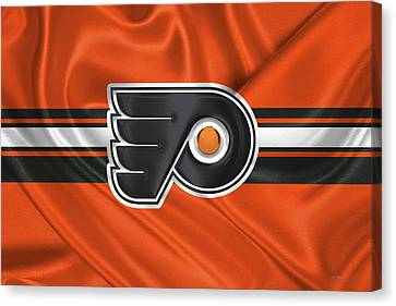Philadelphia Flyers - 3 D Badge Over Silk Flag Canvas Print