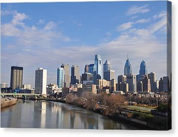Philadelphia From The South Street Bridge Canvas Print by Bill Cannon