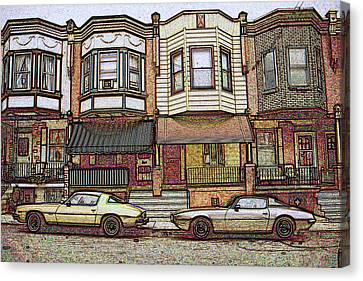 Philadelphia Homes - Color Pencil Canvas Print by Art America Gallery Peter Potter