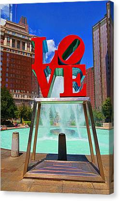 Philadelphia Love Scuplture Canvas Print by Allen Beatty