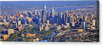 Philadelphia Museum Of Art And City Skyline Aerial Panorama Canvas Print by Duncan Pearson