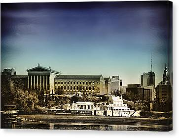 Philadelphia Museum Of Art And The Fairmount Waterworks From West River Drive Canvas Print by Bill Cannon