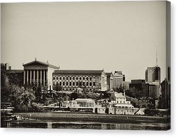 Philadelphia Museum Of Art And The Fairmount Waterworks From West River Drive In Black And White Canvas Print by Bill Cannon