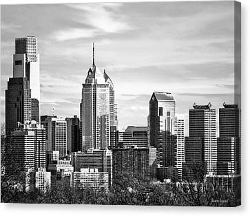 Philadelphia Canvas Print - Philadelphia Pa Skyline II Black And White by Susan Savad