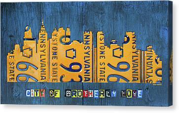 Philadelphia Pennsylvania Skyline License Plate Art Edition 2016 Canvas Print by Design Turnpike