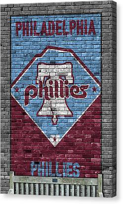 Baseball Fields Canvas Print - Philadelphia Phillies Brick Wall by Joe Hamilton