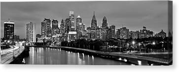 Canvas Print featuring the photograph Philadelphia Philly Skyline At Dusk From Near South Bw Black And White Panorama by Jon Holiday