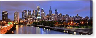 Canvas Print featuring the photograph Philadelphia Philly Skyline At Dusk From Near South Color Panorama by Jon Holiday