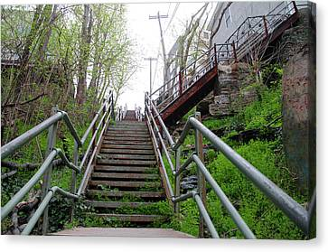 Canvas Print featuring the photograph Philadelphia - Roxborough Avenue Steps by Bill Cannon