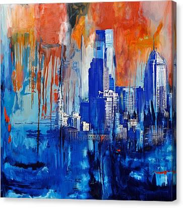 Dallas Skyline Canvas Print - Philadelphia Skyline 227 1 by Mawra Tahreem