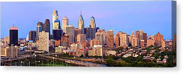 Philadelphia Skyline At Dusk Sunset Pano Canvas Print by Jon Holiday