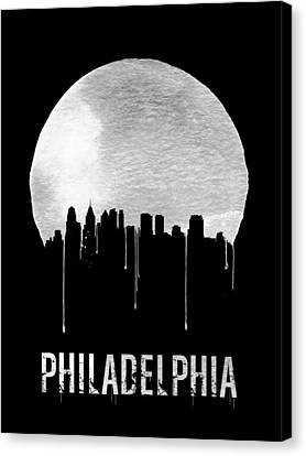 Philadelphia Skyline Black Canvas Print by Naxart Studio