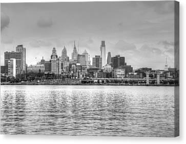 Philadelphia Skyline In Black And White Canvas Print by Jennifer Ancker