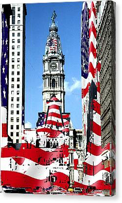 Philadelphia Stars And Stripes Collage Canvas Print