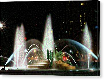 Philadelphia - Swann Fountain - Night Water Color Canvas Print by Bill Cannon