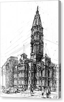 Philly Canvas Print - Philadelphia Town Hall by Krystian  Wozniak