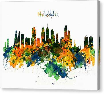 Philadelphia Watercolor Skyline Canvas Print by Marian Voicu