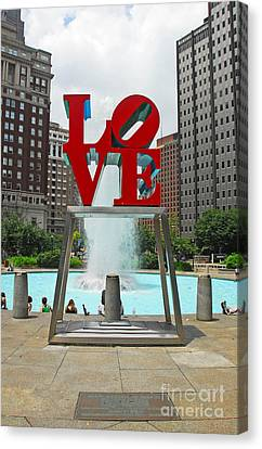 Philadelphia's Love Park Canvas Print by Cindy Manero