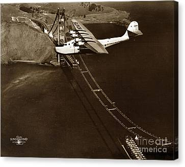 Philippine Clipper A Pan Am Clipper Over The Golden Gate Bridge  1935 Canvas Print by California Views Mr Pat Hathaway Archives