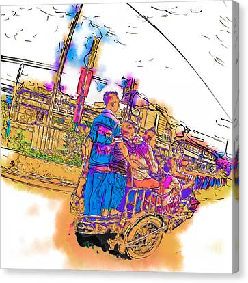 Philippine Family Tricycle Canvas Print by Rolf Bertram