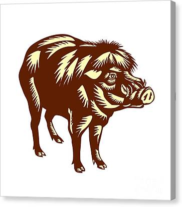 Philippine Warty Pig Woodcut Canvas Print