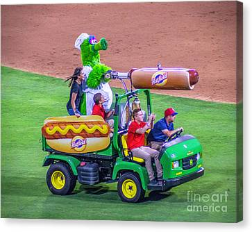 Phillie Phanatic Hot Dog Shooter Canvas Print by Nick Zelinsky