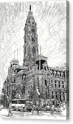 Philly City Hall Canvas Print by Michael Volpicelli