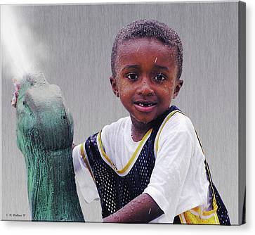 Philly Fountain Kid Canvas Print