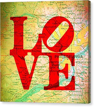 Philly Love V12 Canvas Print by Brandi Fitzgerald
