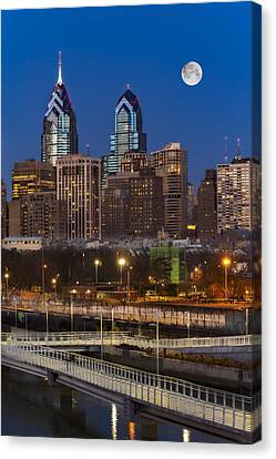 Philly Skyline Full Moon Canvas Print by Susan Candelario