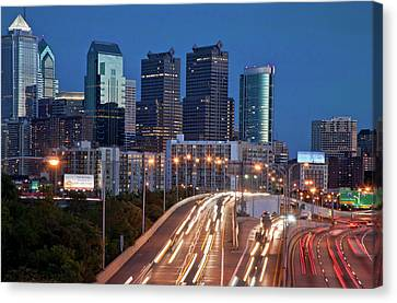 Canvas Print featuring the photograph Philly Skyline With Highways by Matthew Bamberg